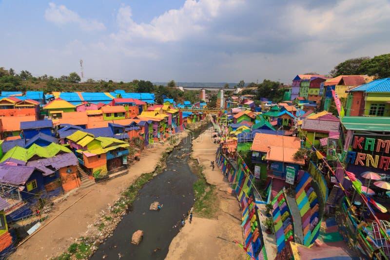 Kampung Warna Warni Jodipan五颜六色的村庄玛琅 库存照片