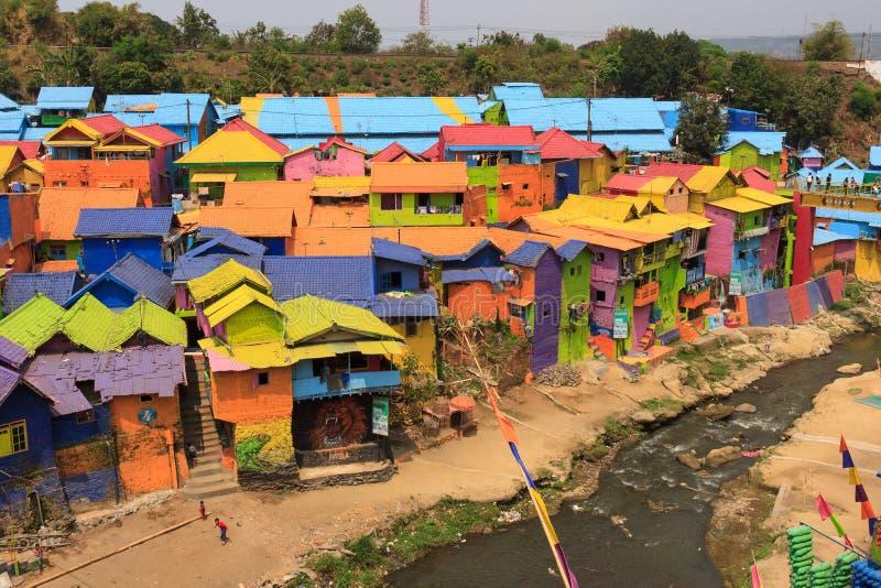 Kampung Warna Warni Jodipan五颜六色的村庄玛琅 免版税库存照片