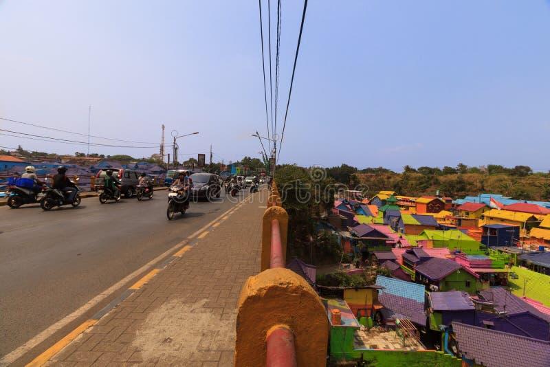 Kampung Warna Warni Jodipan五颜六色的村庄玛琅 库存图片