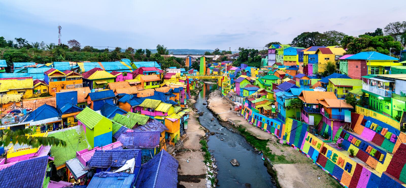 Kampung Warna-Warni Jodipan, village de couleur de Malang, Indonésie image libre de droits
