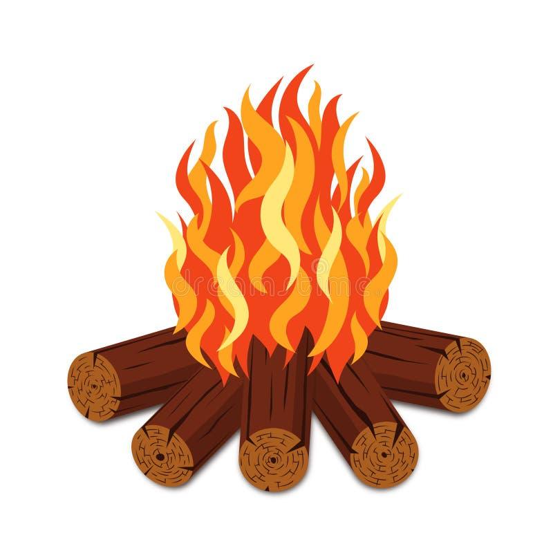 Kampvuur met brandhout en vlamtoorts in beeldverhaalstijl Vuur met woodpile op witte achtergrond wordt geïsoleerd die stock illustratie