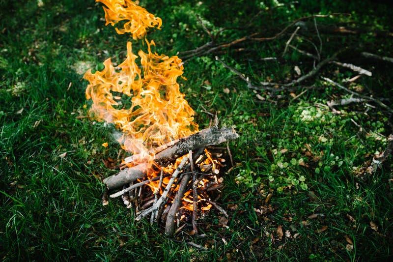 Kampvuur op de aard Vuur, rust op vakantie in aard royalty-vrije stock foto