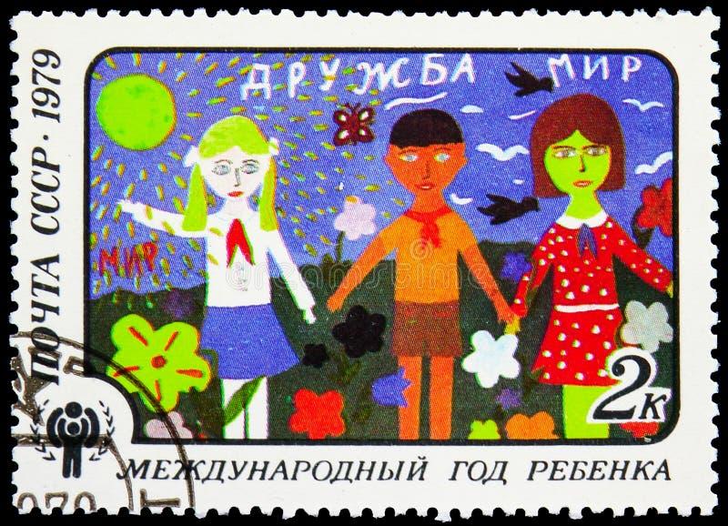 'Kamratskap 'Lena Liberda 12th y Nolla , Zhitomir, internationellt år av barnserien, circa 1979 royaltyfri fotografi