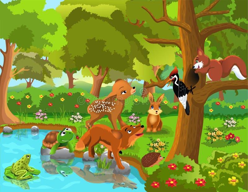Kamratskap mellan skogdjur royaltyfri illustrationer
