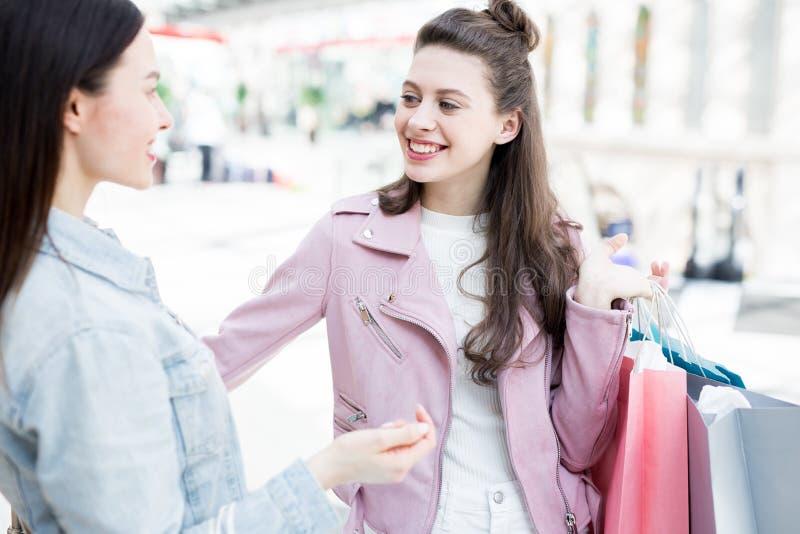 Kamratskap och shopping royaltyfria foton