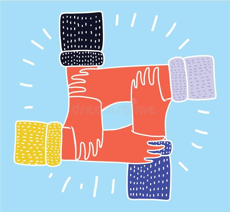 Kamratskapcirkel Fyra händer som rymmer sig som ett mellan skilda raser samarbete vektor illustrationer