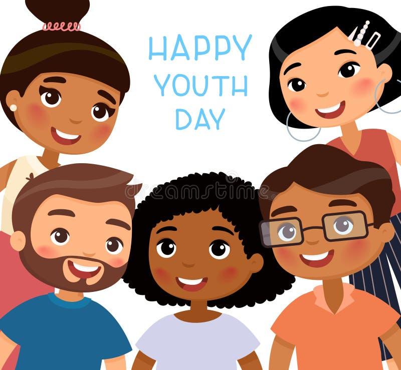 Kamratskapdag Lycklig ungdomdag Internationella unga flickor och unga pojkevänner litet asiatiskt krama för pojke och för flicka stock illustrationer