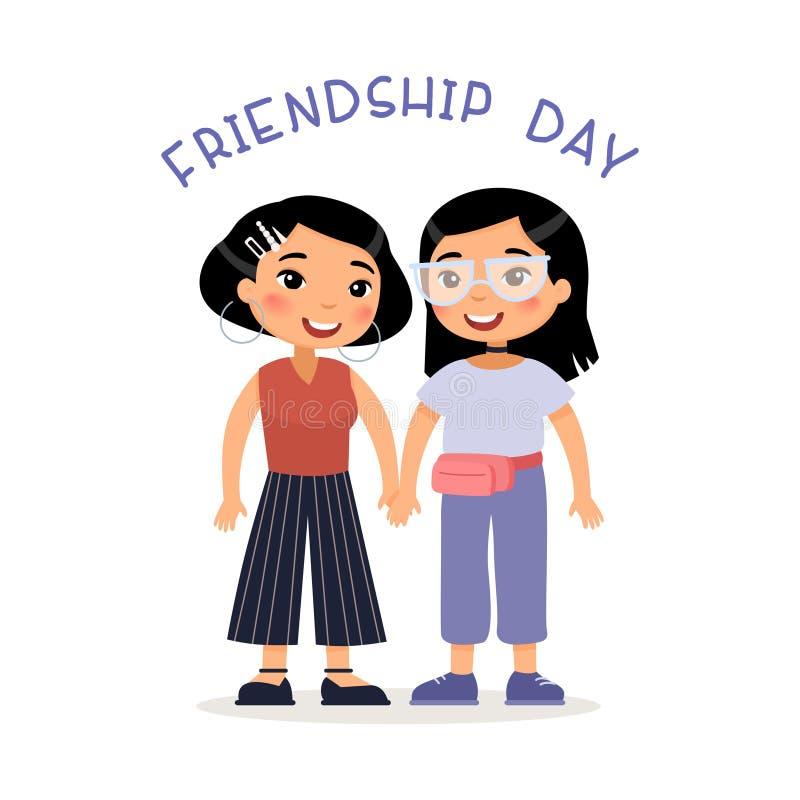 Kamratskapdag Två unga asiatiska kvinnavänner eller lesbiska par som rymmer händer vektor illustrationer