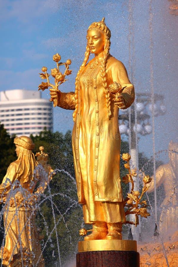 Kamratskapet av nationspringbrunnen i Moskva, Ryssland royaltyfria bilder