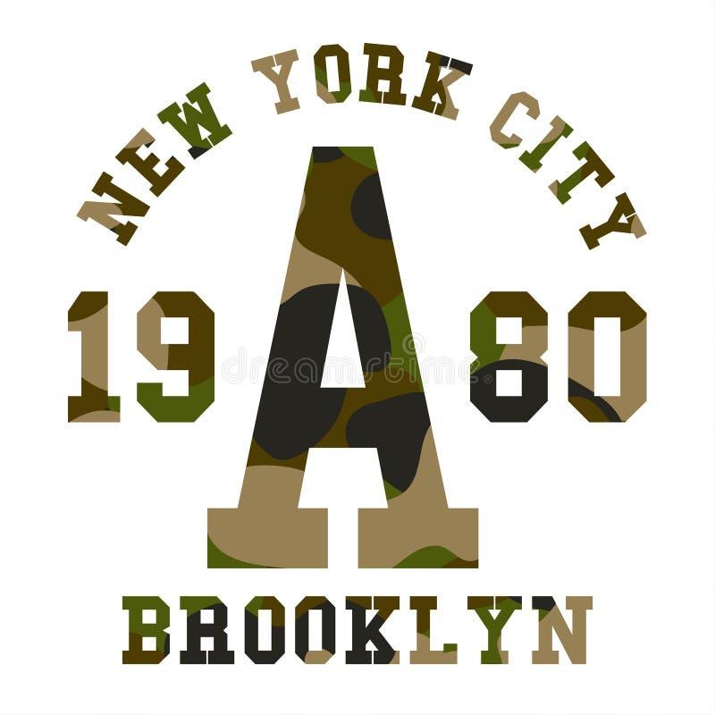 Kamuflaż typografia dla koszulka druku Militarny kamuflaż z pisać list Miasto Nowy Jork, Brooklyn royalty ilustracja