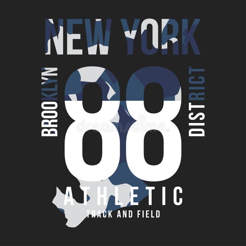 Kamuflaż typografia dla koszulka druku Nowy Jork, uniwerek, sportowe koszulek grafika ilustracji