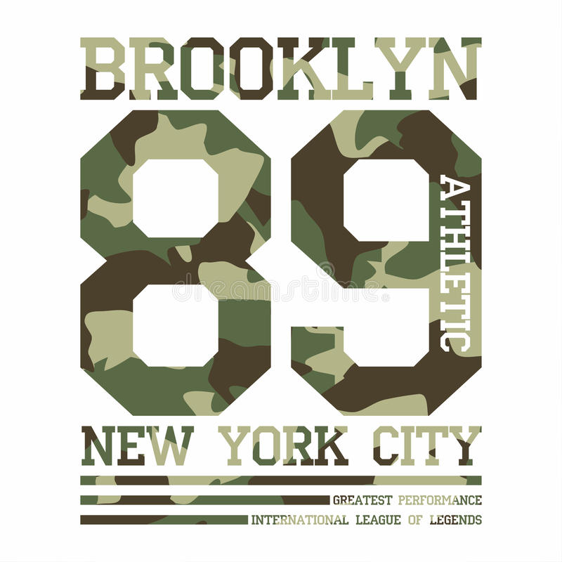 Kamuflaż typografia dla koszulka druku Nowy Jork, uniwerek, sportowe koszulek grafika ilustracja wektor