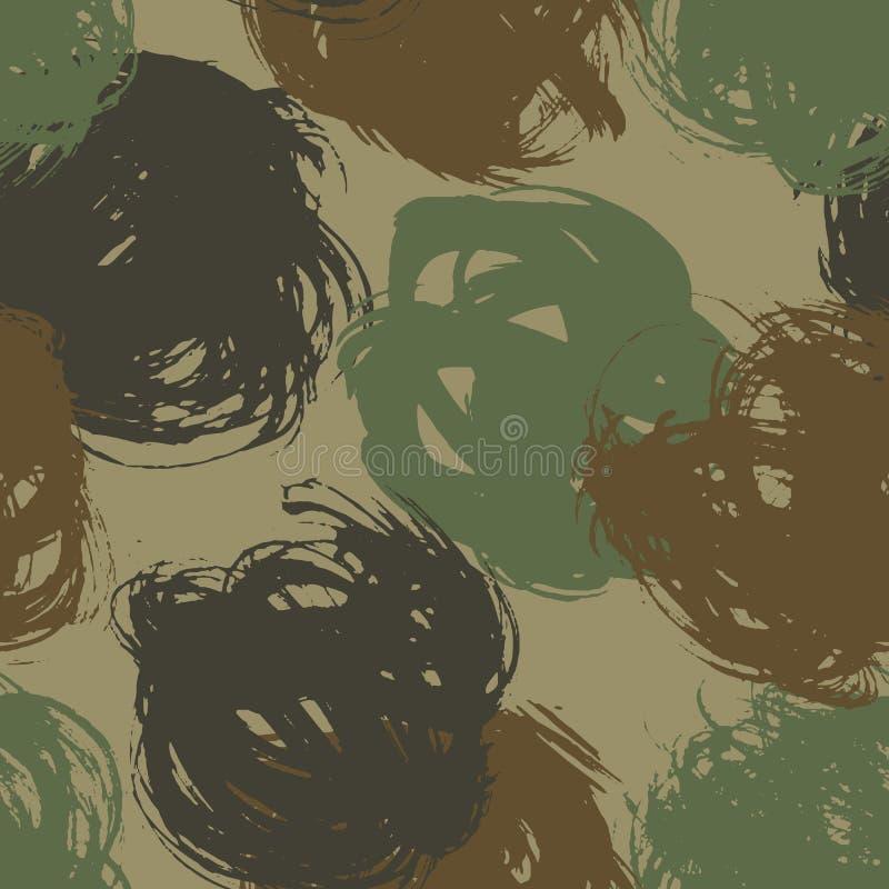 kamuflażu bezszwowy deseniowy Suchy szczotkarski atrament dostrzega ilustrację ilustracja wektor