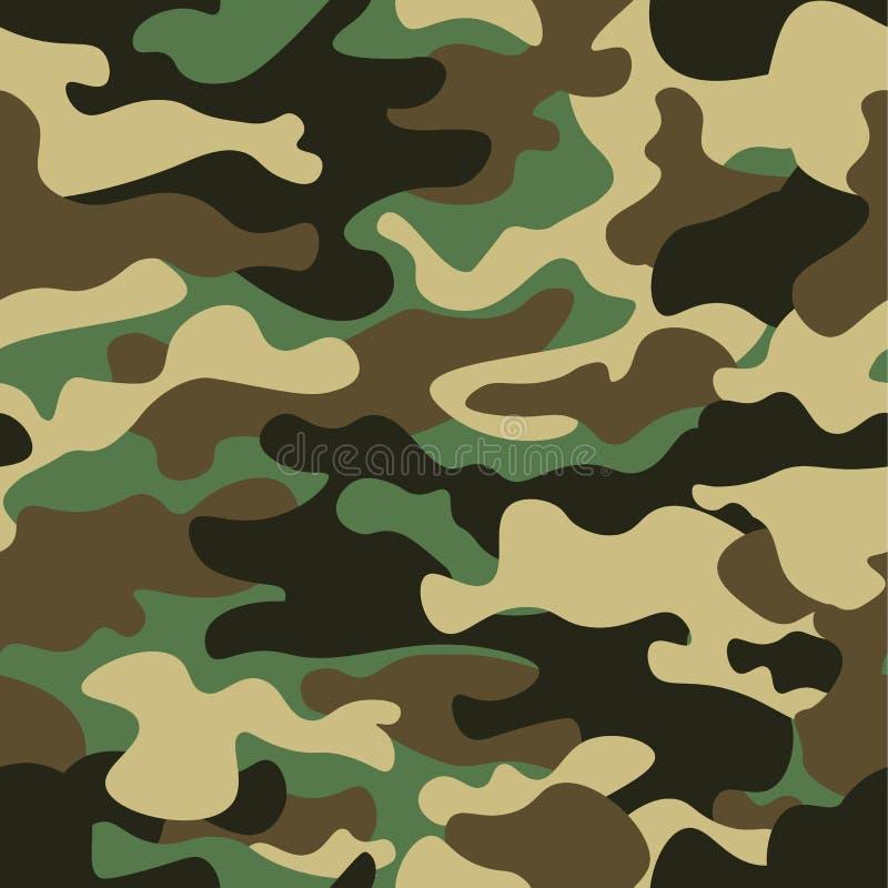Kamuflażu bezszwowy deseniowy tło Klasycznej odzieży camo powtórki stylowy maskuje druk Zieleni brown czarnej oliwki kolory zdjęcia royalty free