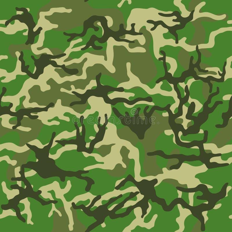 Kamuflażu deseniowego tła bezszwowa wektorowa ilustracja Klasycznej odzieży camo powtórki stylowy maskuje druk Zielony brown czar ilustracji