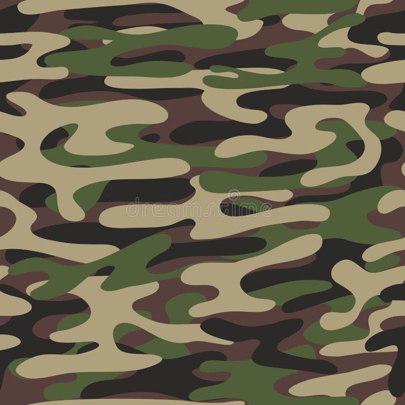 Kamuflażu deseniowy tło Lasu styl Militarnej mody zieleni wektorowy bezszwowy wzór ilustracja wektor
