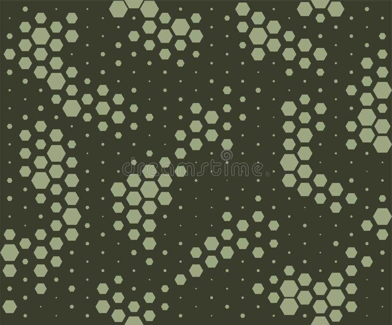 kamuflażu wzór Wąż skóry styl, halftone bezszwowy wzór Zielony camo tło royalty ilustracja
