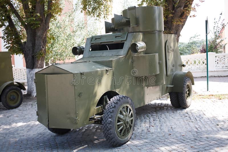 KAMYANETS-PODILSKY, UKRAINE - AUGUST 24, 2018: Armored Car WWI era during historical reenactment of the Ukrainian War of. Independence 1918 royalty free stock photography