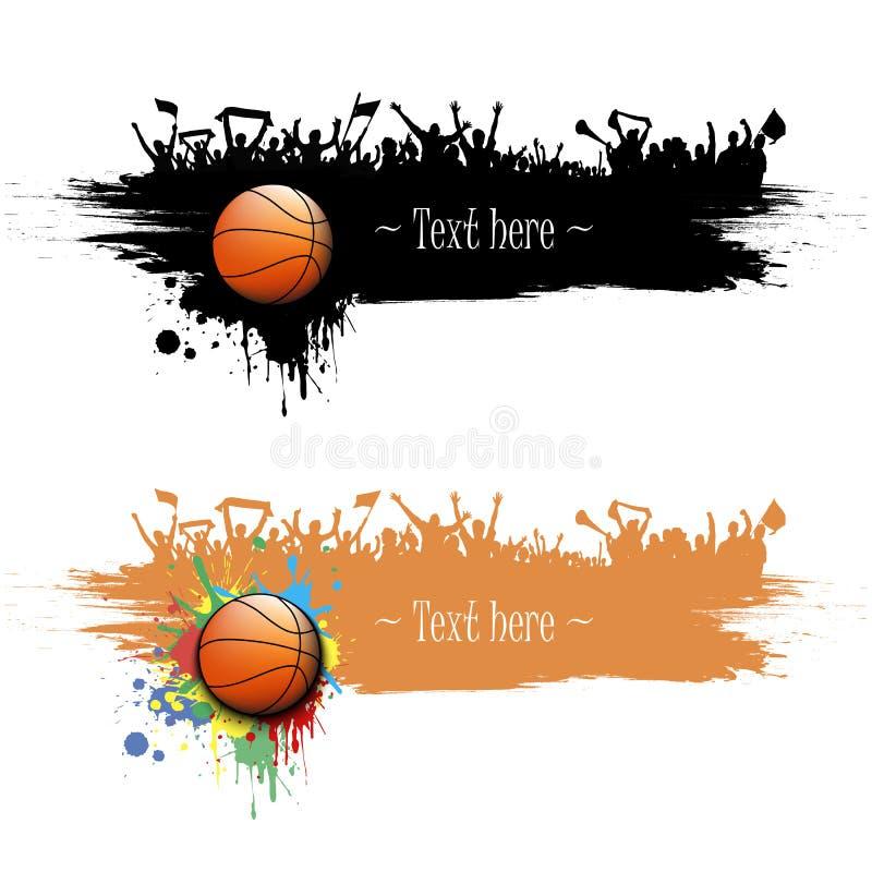 Kan als prentbriefkaar worden gebruikt Basketbalbal en ventilators royalty-vrije illustratie