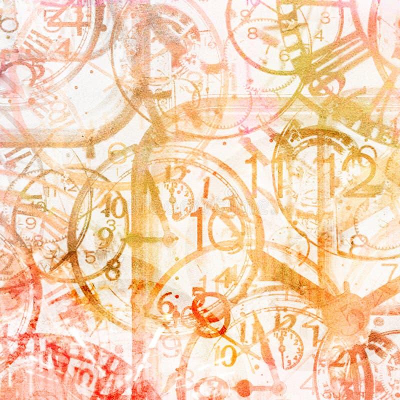Kan als prentbriefkaar worden gebruikt Horloges Tijd vector illustratie