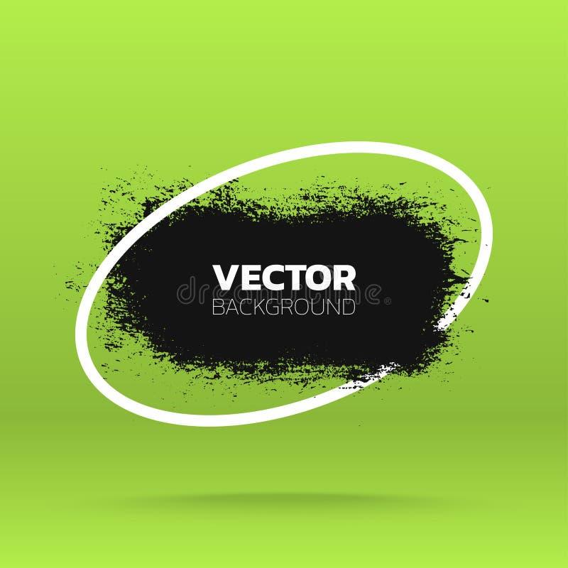 Kan als prentbriefkaar worden gebruikt Pennenstreek van de borstel de zwarte verf over ellipskader Vector illustratie vector illustratie