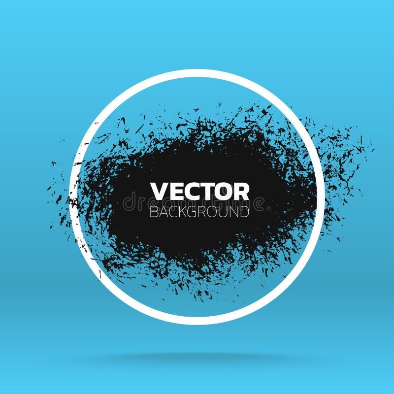 Kan als prentbriefkaar worden gebruikt Pennenstreek van de borstel de zwarte verf over rond kader Vector illustratie stock illustratie