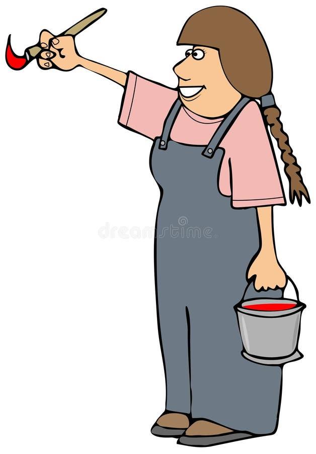 Kan bärande overaller för flickan som rymmer en målarfärg och borsten royaltyfri illustrationer