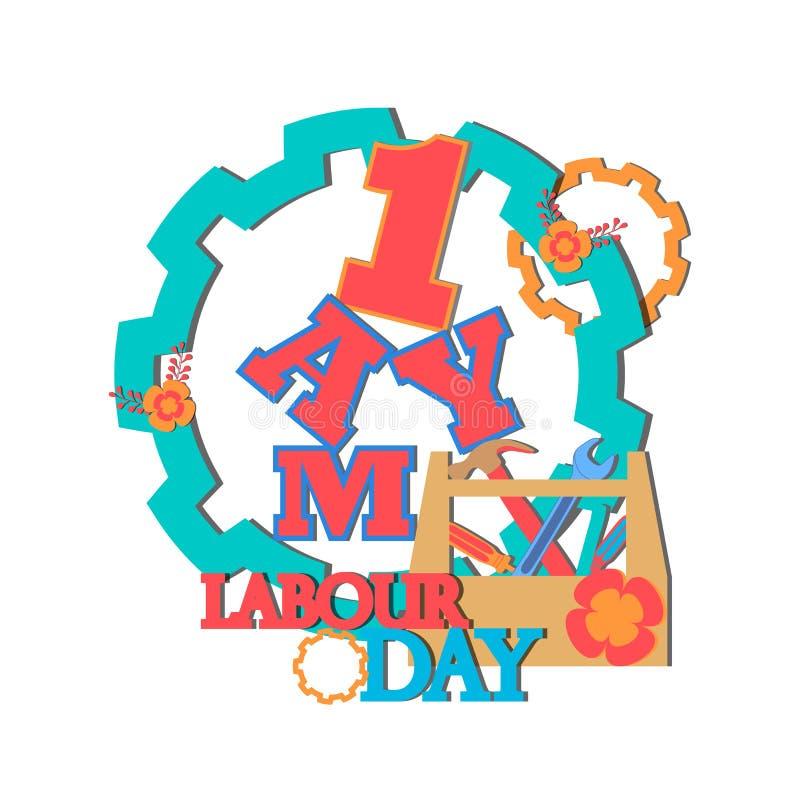 1 kan - dag werken de vector gelukkige affiche of de banner van de arbeidsdag stock afbeelding