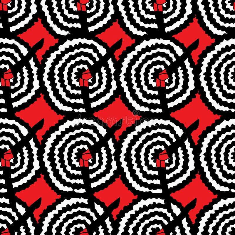 Kan kan danser met omhoog been, onder sirt op een rij om rode achtergrond vectorillustratie uit de vrije hand Cabaretpatroon royalty-vrije illustratie