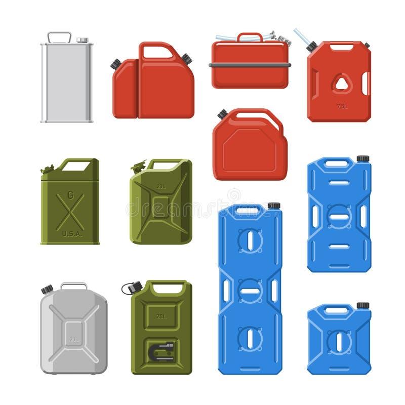 Kan de bus vectorjerrycan of van brandstofbenzine voor automobiele en plastic jerrycan met benzine of olieillustratie plaatsen vector illustratie