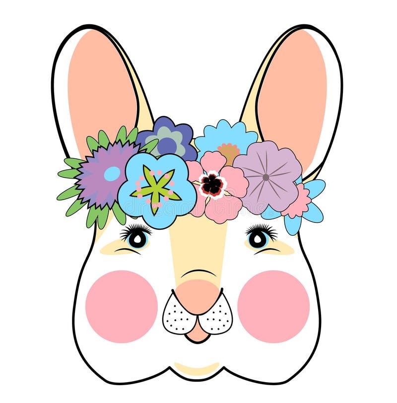 Kan de hand getrokken vectorillustratie van leuk romantisch konijntjesmeisje met bloemen voor jong geitje s of het ontwerp van he royalty-vrije illustratie