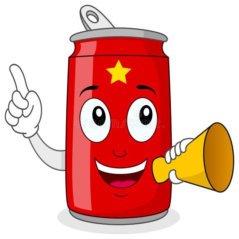 Kan de Rode Soda van de partijtijd & Megafoon vector illustratie