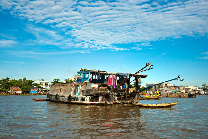 kan den deltamekong thoen vietnam royaltyfria foton