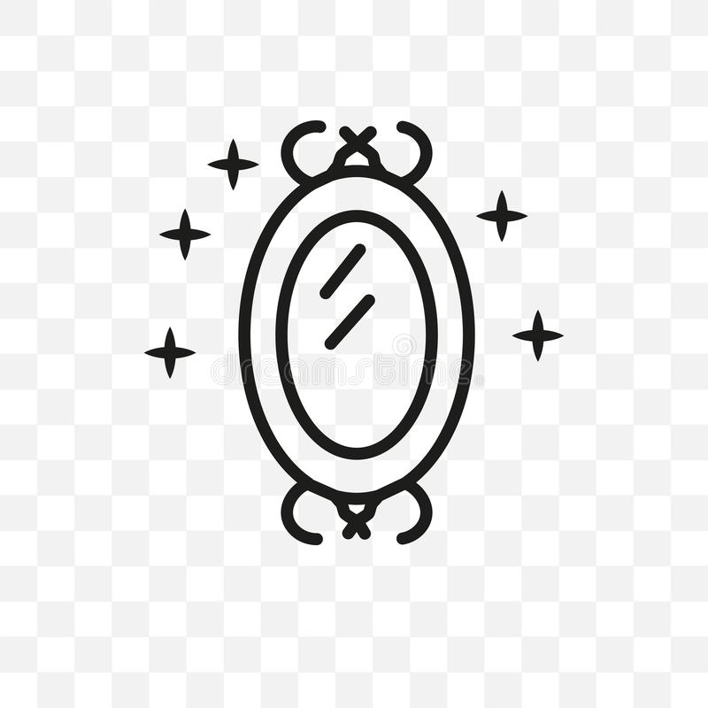 Kan den linjära symbolen för den magiska spegelvektorn som isoleras på genomskinlig bakgrund, det magiska spegelstordiabegreppet, stock illustrationer