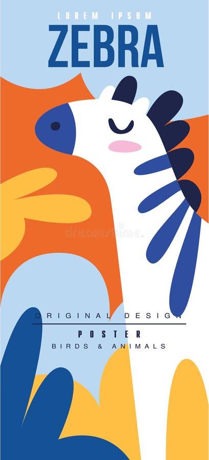 Kan den original- designen för sebrafågel- och djuraffischen, användas för banret, hälsningkortet, baby shower, födelsedagparti stock illustrationer
