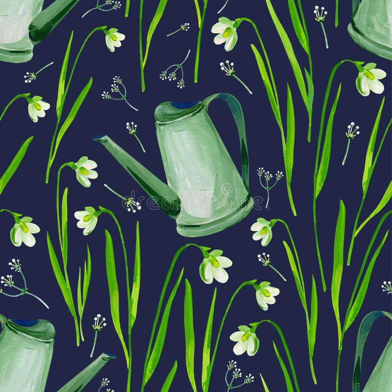 Kan den sömlösa modellen för gouachen med blommor och att bevattna Stranda av hår vänder mot in Clipart för konstarbete och weddi stock illustrationer
