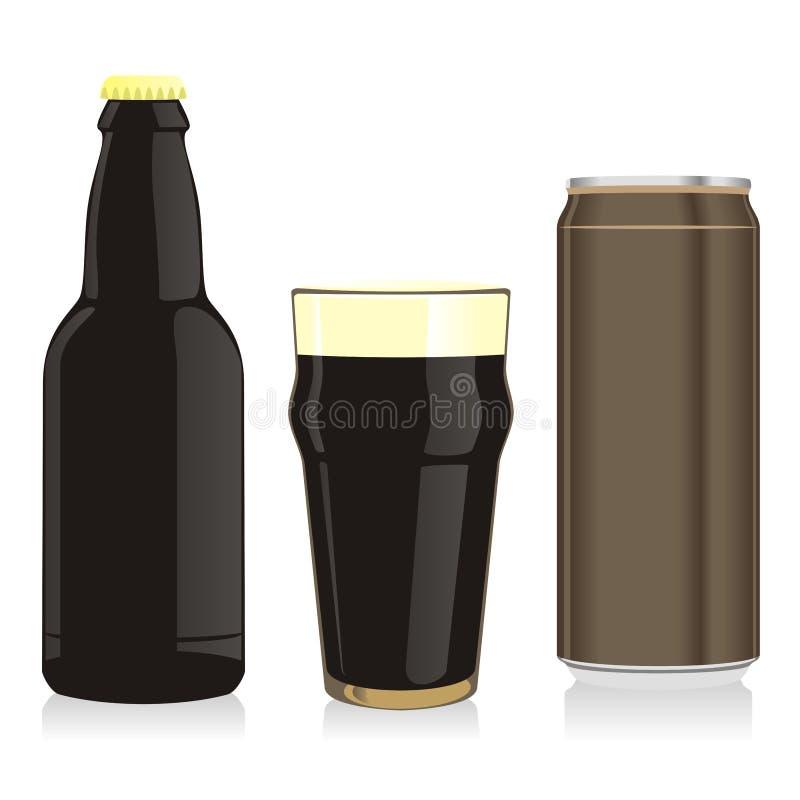 kan den svarta flaskan för öl isolerat exponeringsglas vektor illustrationer