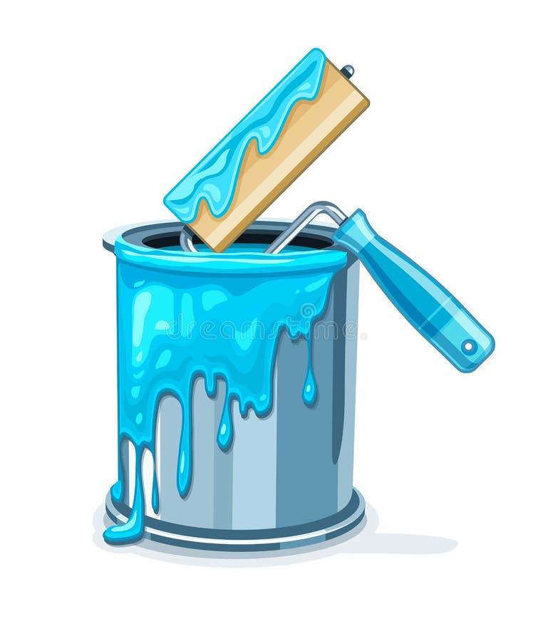 Kan emmer met blauwe verf en rol voor het schilderen onderhoud stock illustratie