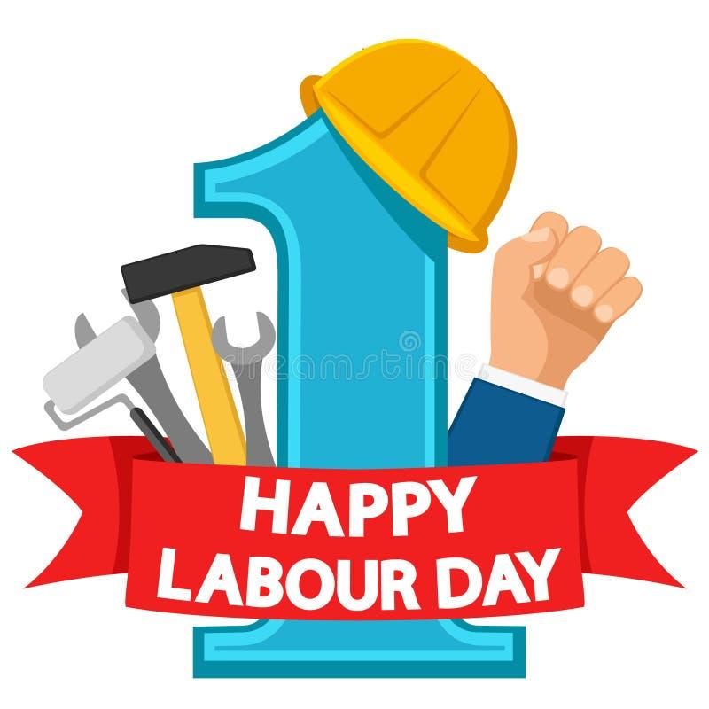 Kan först den arbets- dagen , logo på ett vitt Konstruktionshjälm och en uppsättning av hjälpmedel för det röda bandet stock illustrationer
