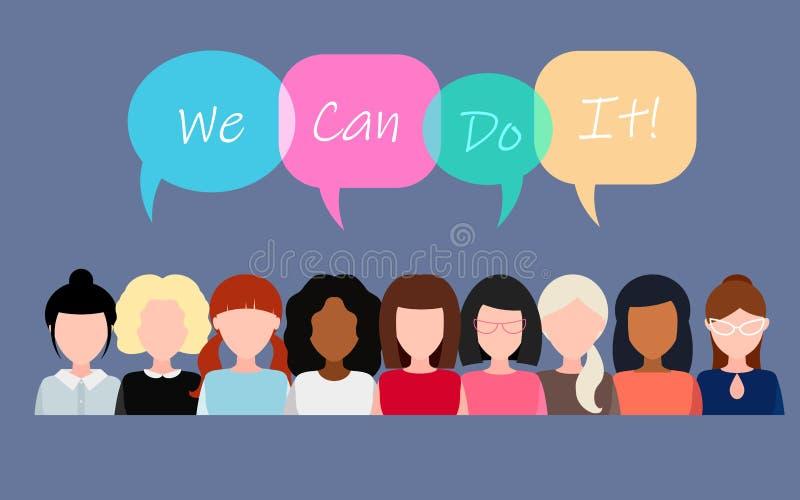 kan g?ra Symbol av kvinnlig makt, kvinnar?tter, protest, feminism vektor stock illustrationer