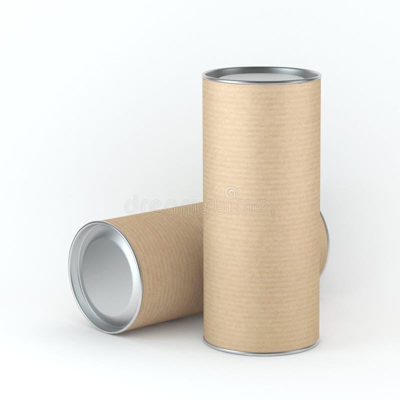 Kan högväxt kraft papptenn för två den förpackande modellen för te, kaffe, torra produkter, gåvaask Förlägga din design stock illustrationer