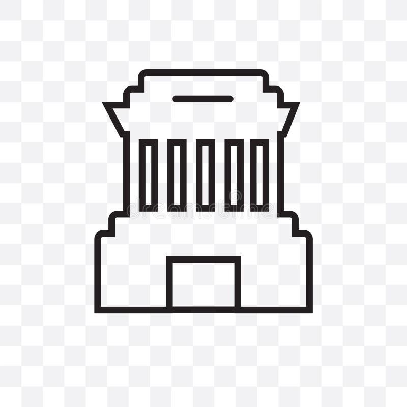 Kan het het mausoleum vector lineaire die pictogram van de Hochi minh op transparante achtergrond, Ho-de transparantieconcept wor royalty-vrije illustratie