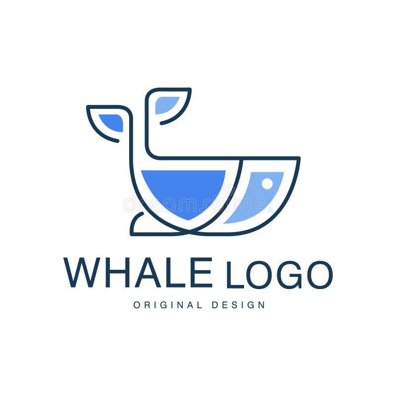Kan het originele ontwerp van het walvisembleem, creatief embleem voor reisbureau worden gebruikt, scheepvaartmaatschappij, zeevr vector illustratie