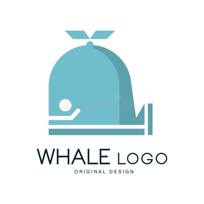 Kan het originele ontwerp van het walvisembleem, kenteken voor merkidentiteit, reisbureau worden gebruikt, scheepvaartmaatschappi royalty-vrije illustratie