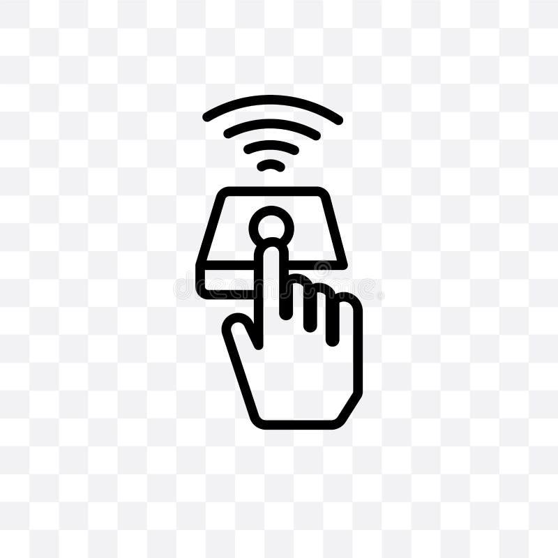 Kan het vector lineaire die pictogram van de vingercontrole op transparante achtergrond, de transparantieconcept wordt geïsoleerd vector illustratie