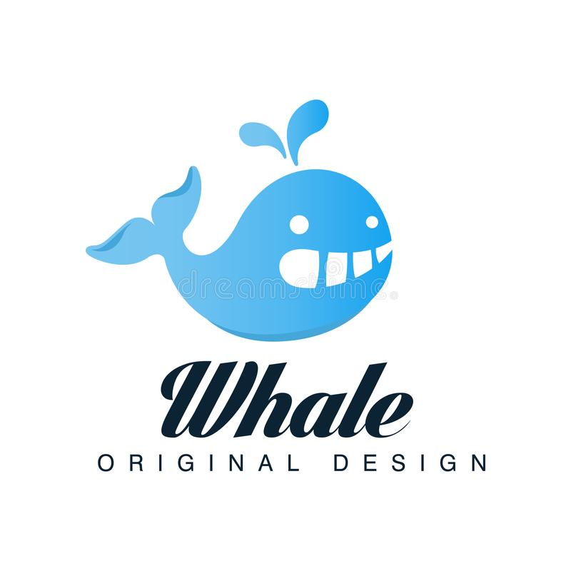 Kan het walvis originele ontwerp, embleemmalplaatje met blauwe vinvis voor merkidentiteit, reisbureau worden gebruikt, scheepvaar royalty-vrije illustratie
