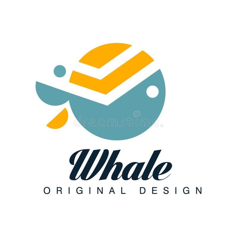 Kan het walvis originele ontwerp, embleemmalplaatje voor merkidentiteit, reisbureau worden gebruikt, scheepvaartmaatschappij, zee royalty-vrije illustratie