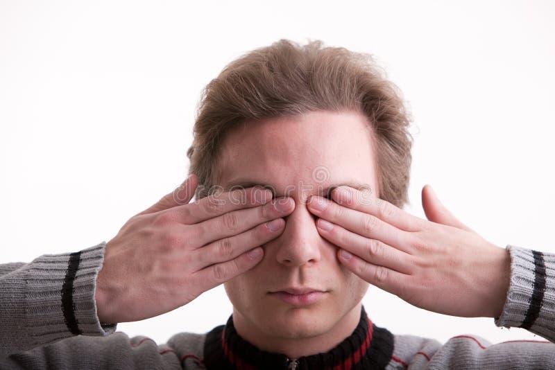 Kan inte se (händer på ögon) arkivfoton