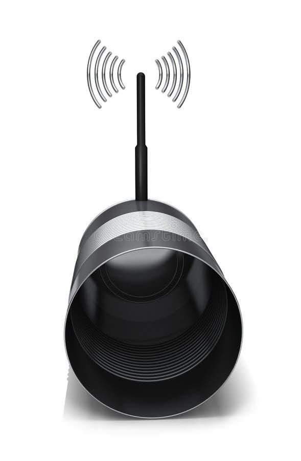 kan kommunikationstinradion stock illustrationer