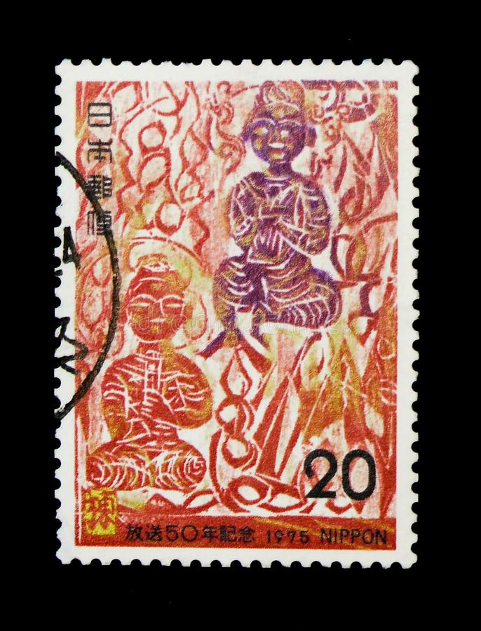 Kan-lunes-sho, por el serie de Shiko Munakata, de las campañas, de los eventos de jalón y de los aniversarios, circa 1975 fotos de archivo